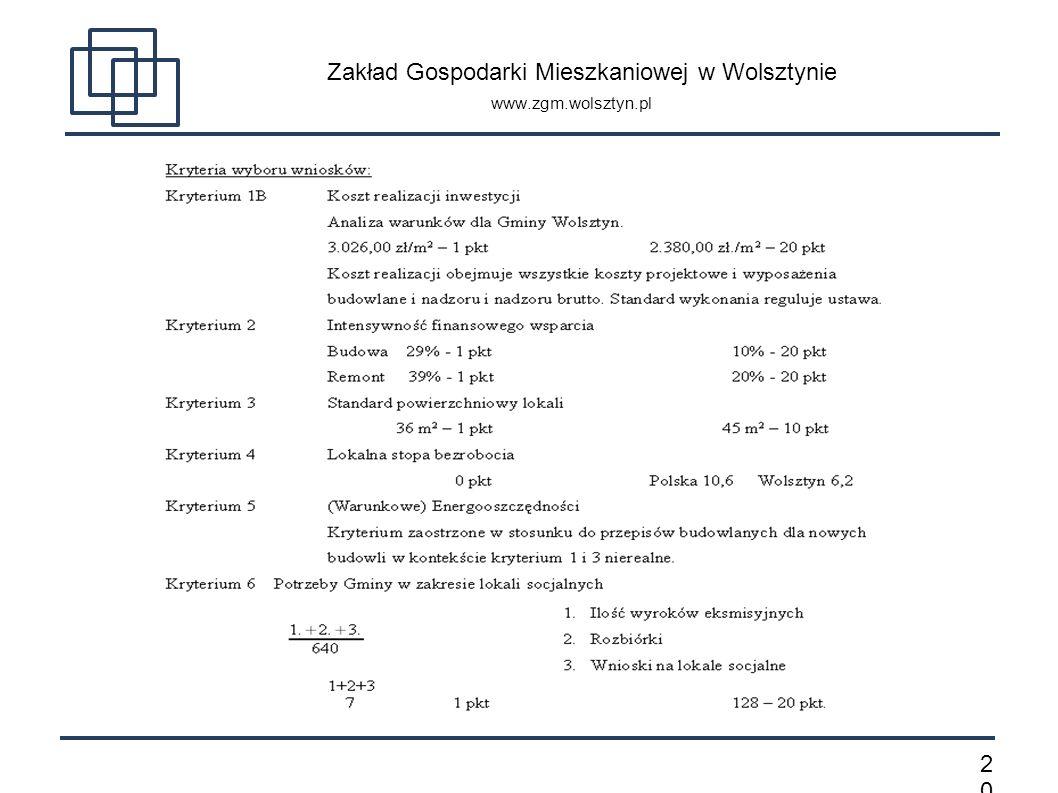 2020 Zakład Gospodarki Mieszkaniowej w Wolsztynie www.zgm.wolsztyn.pl