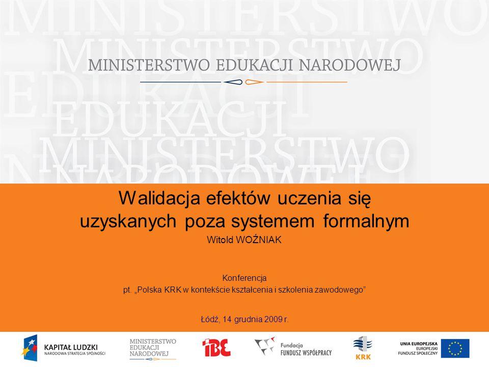 Walidacja – droga do celu Kontekst europejski Walidacja vs potwierdzanie Przedmiot walidacji Piramida walidacji Diagnoza w trzech sektorach: – edukacja ogólna – szkolnictwo wyższe – kształcenia zawodowego i szkoleń Walidacja jako odpowiedź na potrzeby Warunki wstępne Zasady Model(e) Instytucje