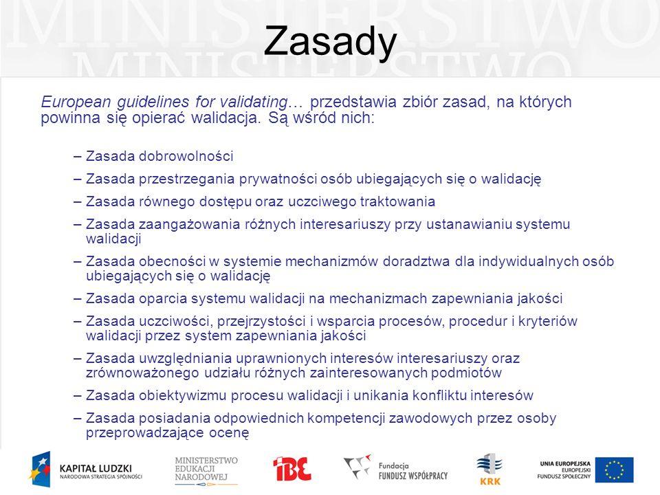 Zasady European guidelines for validating… przedstawia zbiór zasad, na których powinna się opierać walidacja. Są wśród nich: –Zasada dobrowolności –Za