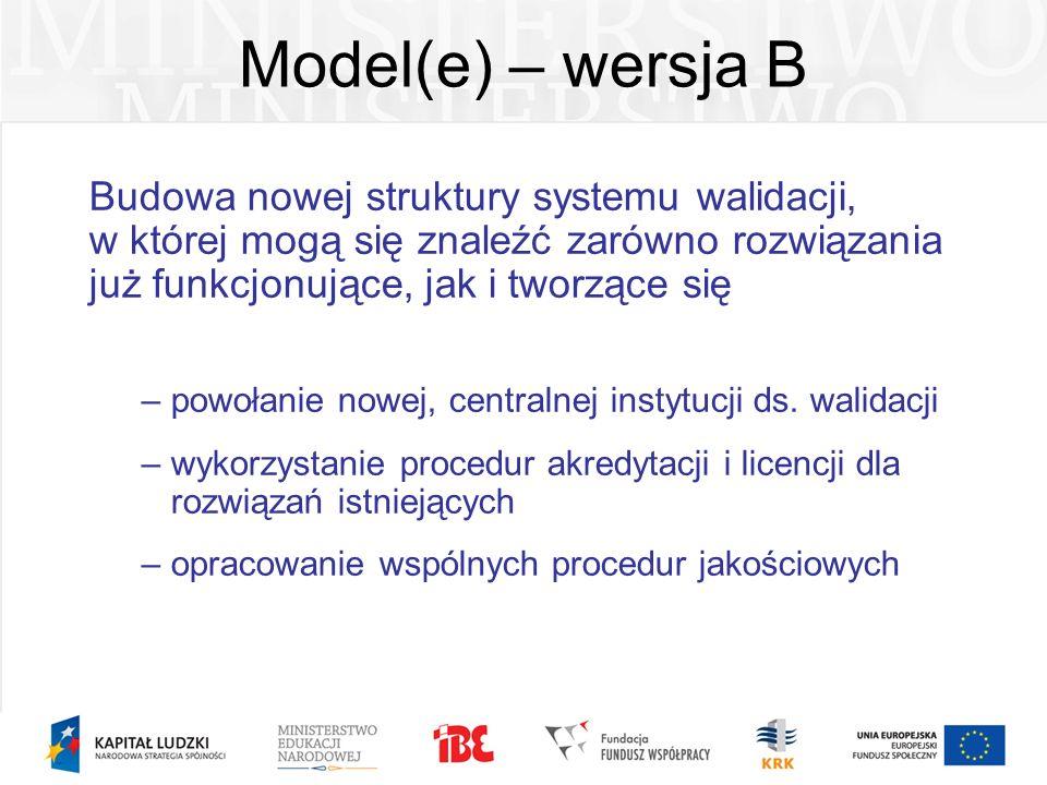 Model(e) – wersja B Budowa nowej struktury systemu walidacji, w której mogą się znaleźć zarówno rozwiązania już funkcjonujące, jak i tworzące się –pow