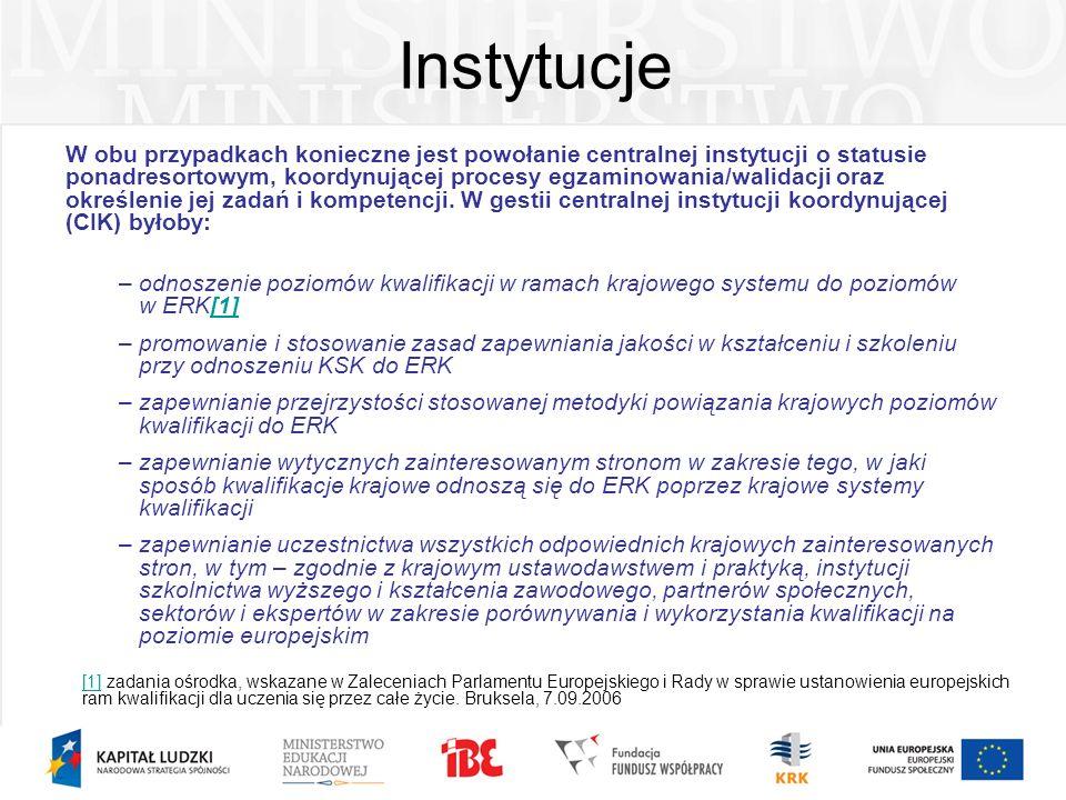 Instytucje W obu przypadkach konieczne jest powołanie centralnej instytucji o statusie ponadresortowym, koordynującej procesy egzaminowania/walidacji
