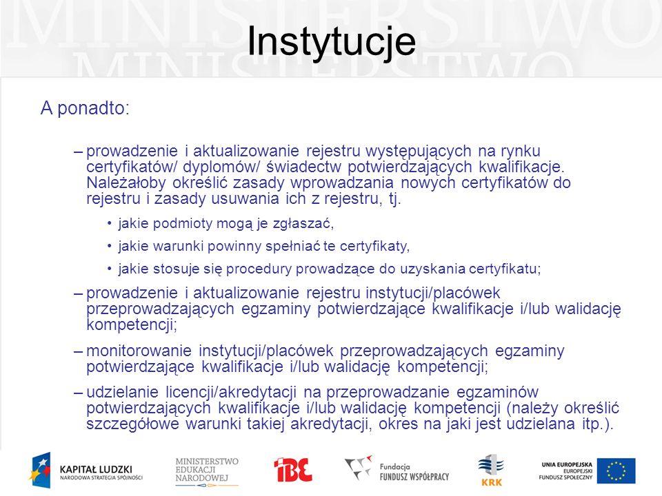 Instytucje A ponadto: –prowadzenie i aktualizowanie rejestru występujących na rynku certyfikatów/ dyplomów/ świadectw potwierdzających kwalifikacje. N