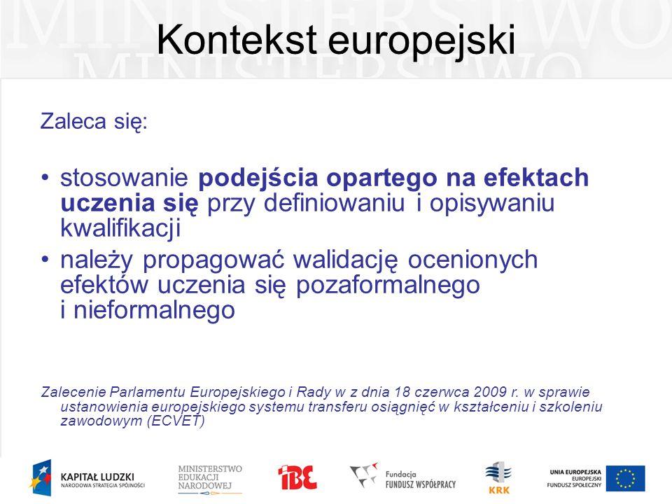 Kontekst europejski Zaleca się: stosowanie podejścia opartego na efektach uczenia się przy definiowaniu i opisywaniu kwalifikacji należy propagować wa