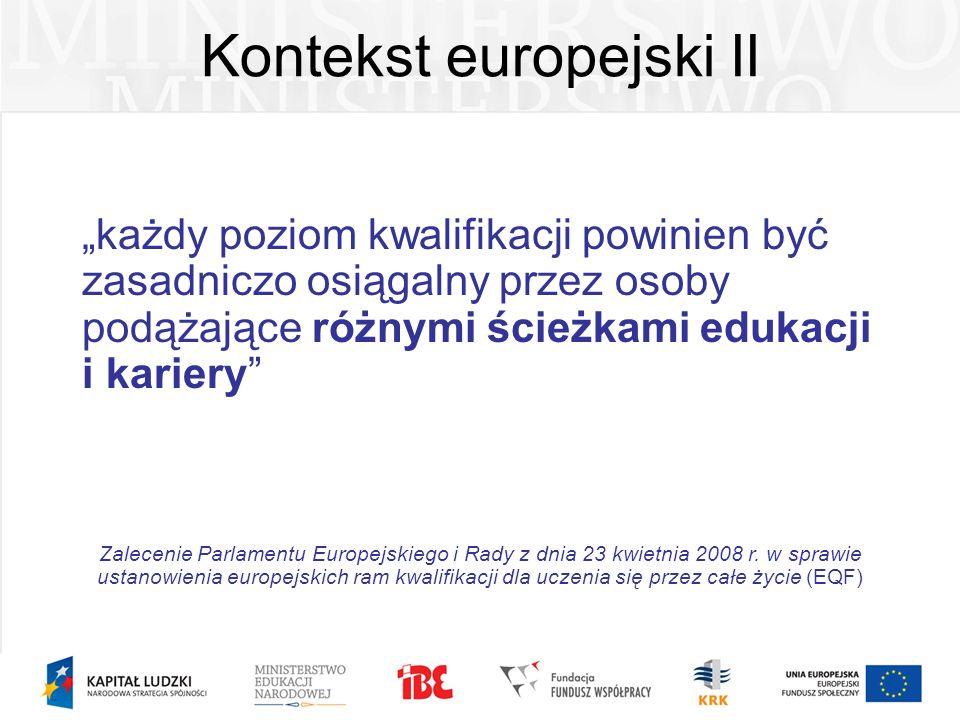 Kontekst europejski II każdy poziom kwalifikacji powinien być zasadniczo osiągalny przez osoby podążające różnymi ścieżkami edukacji i kariery Zalecen