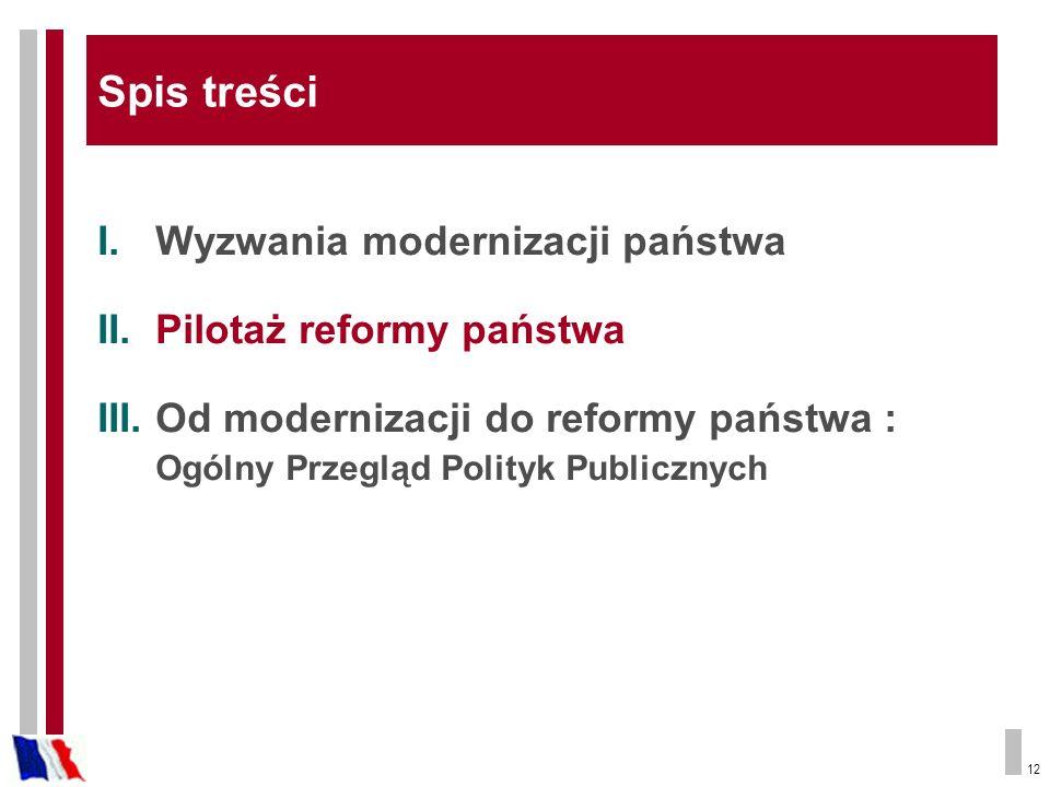 12 I.Wyzwania modernizacji państwa II.Pilotaż reformy państwa III.Od modernizacji do reformy państwa : Ogólny Przegląd Polityk Publicznych Spis treści