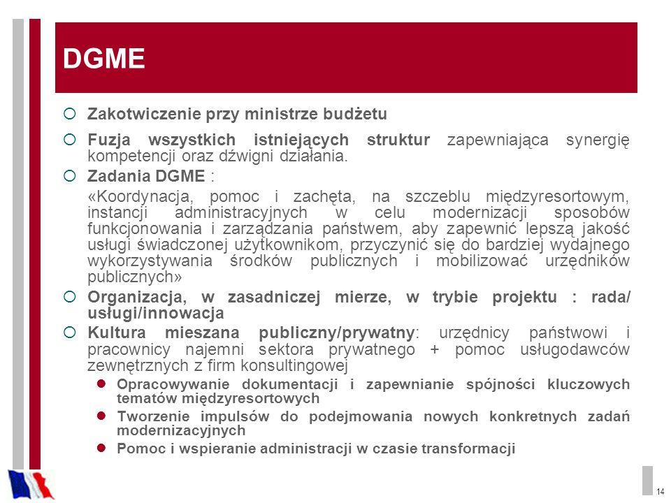 14 DGME Zakotwiczenie przy ministrze budżetu Fuzja wszystkich istniejących struktur zapewniająca synergię kompetencji oraz dźwigni działania. Zadania