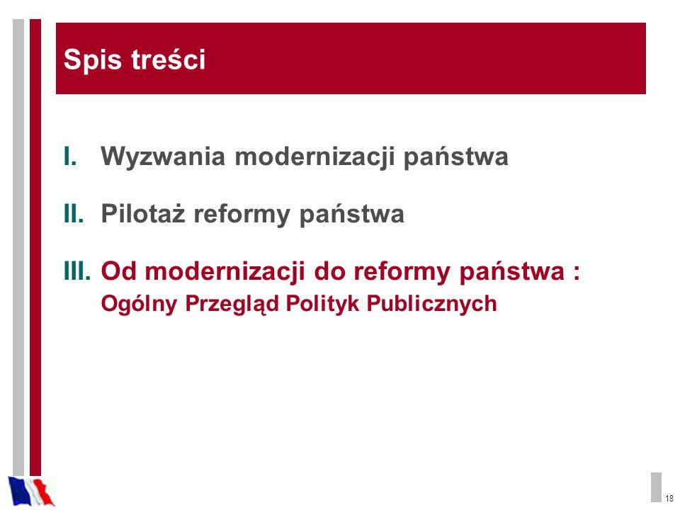 18 I.Wyzwania modernizacji państwa II.Pilotaż reformy państwa III.Od modernizacji do reformy państwa : Ogólny Przegląd Polityk Publicznych Spis treści