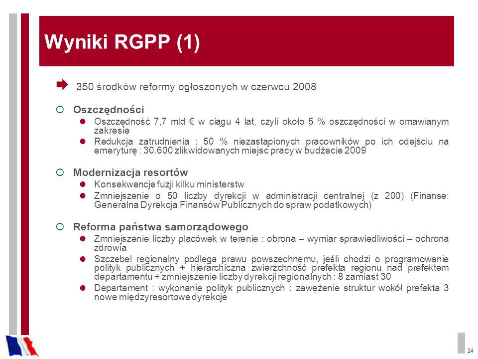 24 Wyniki RGPP (1) 350 środków reformy ogłoszonych w czerwcu 2008 Oszczędności Oszczędność 7,7 mld w ciągu 4 lat, czyli około 5 % oszczędności w omawi