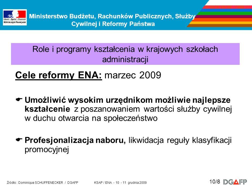 Ministerstwo Budżetu, Rachunków Publicznych, Służby Cywilnej i Reformy Państwa KSAP / ENA - 10 - 11 grudnia 2009 Źródło : Dominique SCHUFFENECKER / DG