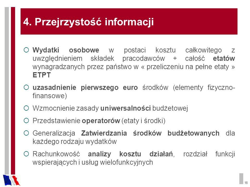 16 4. Przejrzystość informacji Wydatki osobowe w postaci kosztu całkowitego z uwzględnieniem składek pracodawców + całość etatów wynagradzanych przez