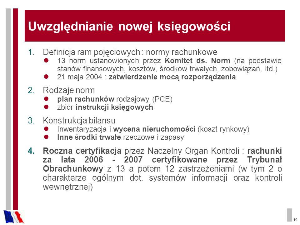 19 Uwzględnianie nowej księgowości 1.Definicja ram pojęciowych : normy rachunkowe 13 norm ustanowionych przez Komitet ds. Norm (na podstawie stanów fi