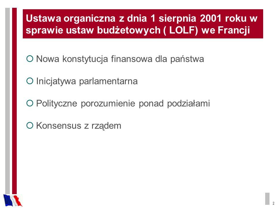 2 Ustawa organiczna z dnia 1 sierpnia 2001 roku w sprawie ustaw budżetowych ( LOLF) we Francji Nowa konstytucja finansowa dla państwa Inicjatywa parlamentarna Polityczne porozumienie ponad podziałami Konsensus z rządem