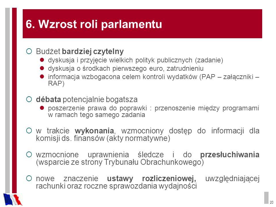 20 6. Wzrost roli parlamentu Budżet bardziej czytelny dyskusja i przyjęcie wielkich polityk publicznych (zadanie) dyskusja o środkach pierwszego euro,