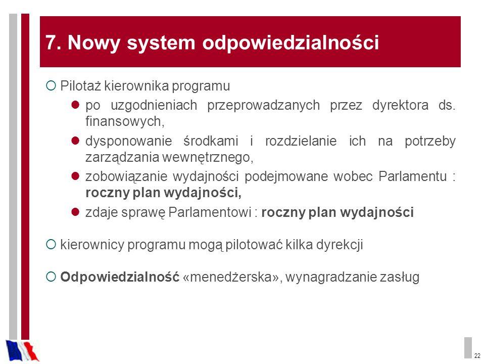 22 7. Nowy system odpowiedzialności Pilotaż kierownika programu po uzgodnieniach przeprowadzanych przez dyrektora ds. finansowych, dysponowanie środka