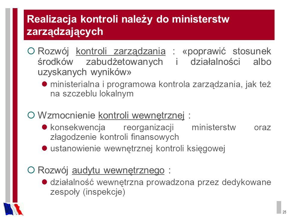 25 Realizacja kontroli należy do ministerstw zarządzających Rozwój kontroli zarządzania : «poprawić stosunek środków zabudżetowanych i działalności al