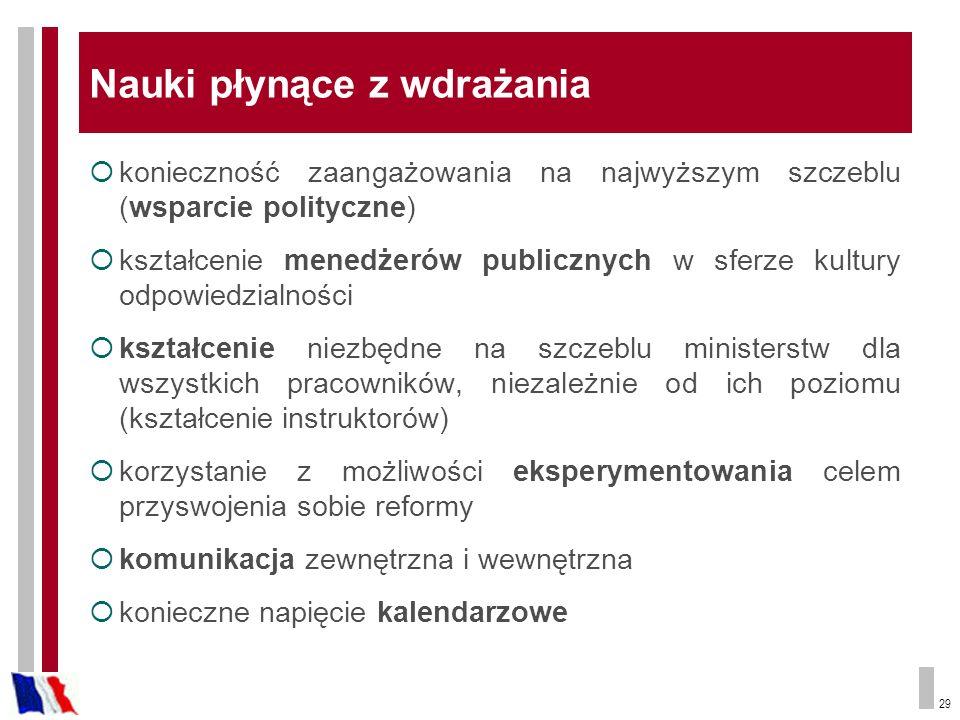 29 Nauki płynące z wdrażania konieczność zaangażowania na najwyższym szczeblu (wsparcie polityczne) kształcenie menedżerów publicznych w sferze kultury odpowiedzialności kształcenie niezbędne na szczeblu ministerstw dla wszystkich pracowników, niezależnie od ich poziomu (kształcenie instruktorów) korzystanie z możliwości eksperymentowania celem przyswojenia sobie reformy komunikacja zewnętrzna i wewnętrzna konieczne napięcie kalendarzowe