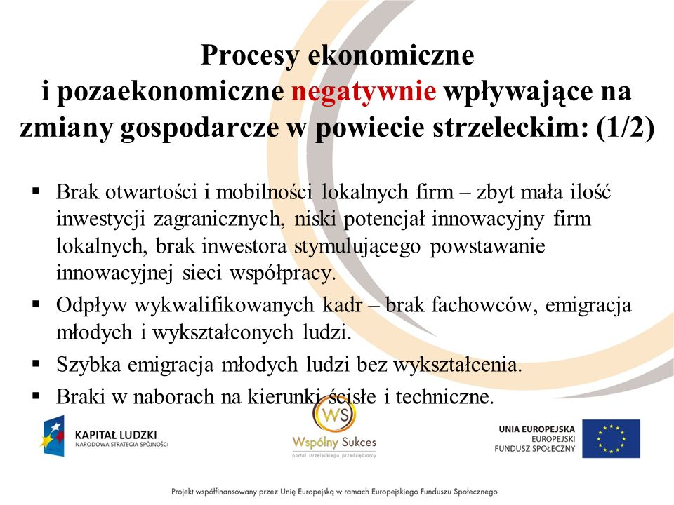 Procesy ekonomiczne i pozaekonomiczne negatywnie wpływające na zmiany gospodarcze w powiecie strzeleckim: (1/2) Brak otwartości i mobilności lokalnych firm – zbyt mała ilość inwestycji zagranicznych, niski potencjał innowacyjny firm lokalnych, brak inwestora stymulującego powstawanie innowacyjnej sieci współpracy.