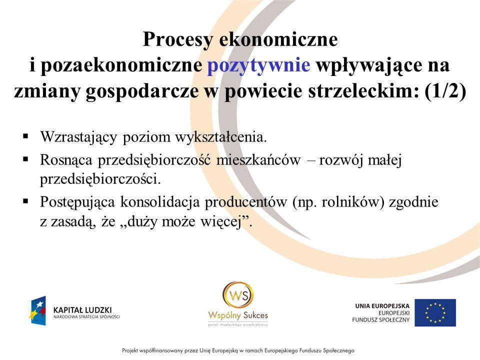 Procesy ekonomiczne i pozaekonomiczne pozytywnie wpływające na zmiany gospodarcze w powiecie strzeleckim: (1/2) Wzrastający poziom wykształcenia.