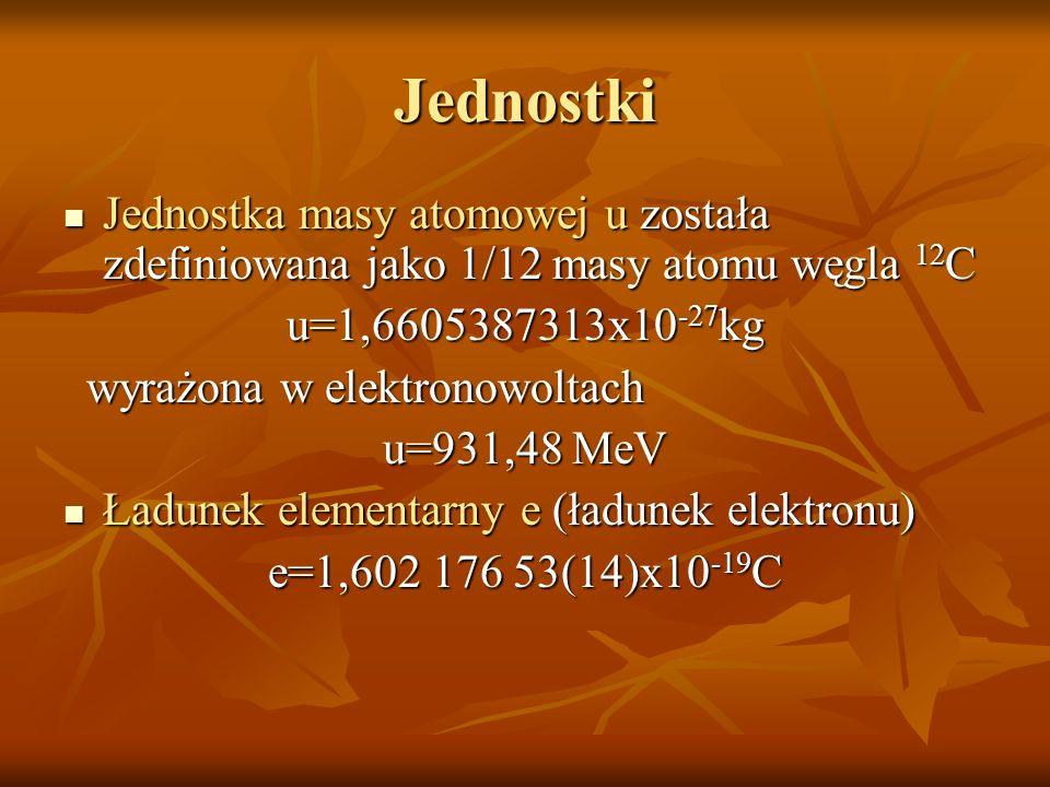 Jednostki Jednostka masy atomowej u została zdefiniowana jako 1/12 masy atomu węgla 12 C Jednostka masy atomowej u została zdefiniowana jako 1/12 masy