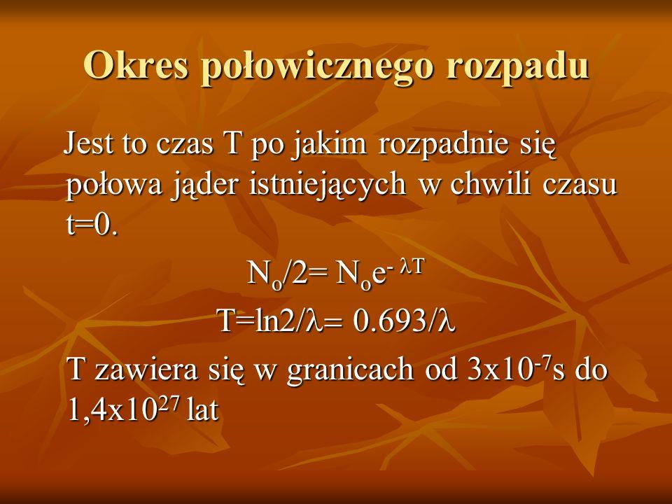 Okres połowicznego rozpadu Jest to czas T po jakim rozpadnie się połowa jąder istniejących w chwili czasu t=0. Jest to czas T po jakim rozpadnie się p