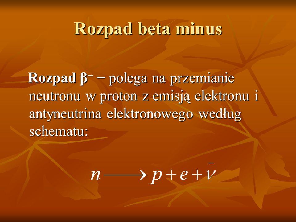 Rozpad beta minus Rozpad β polega na przemianie neutronu w proton z emisją elektronu i antyneutrina elektronowego według schematu: Rozpad β polega na