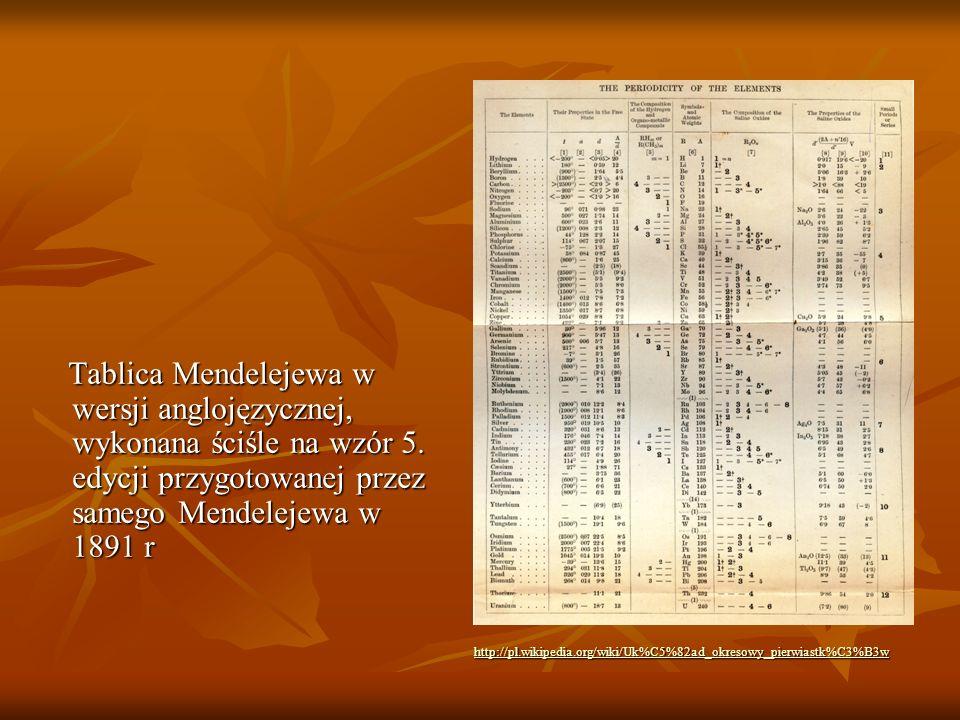 Tablica Mendelejewa w wersji anglojęzycznej, wykonana ściśle na wzór 5. edycji przygotowanej przez samego Mendelejewa w 1891 r Tablica Mendelejewa w w