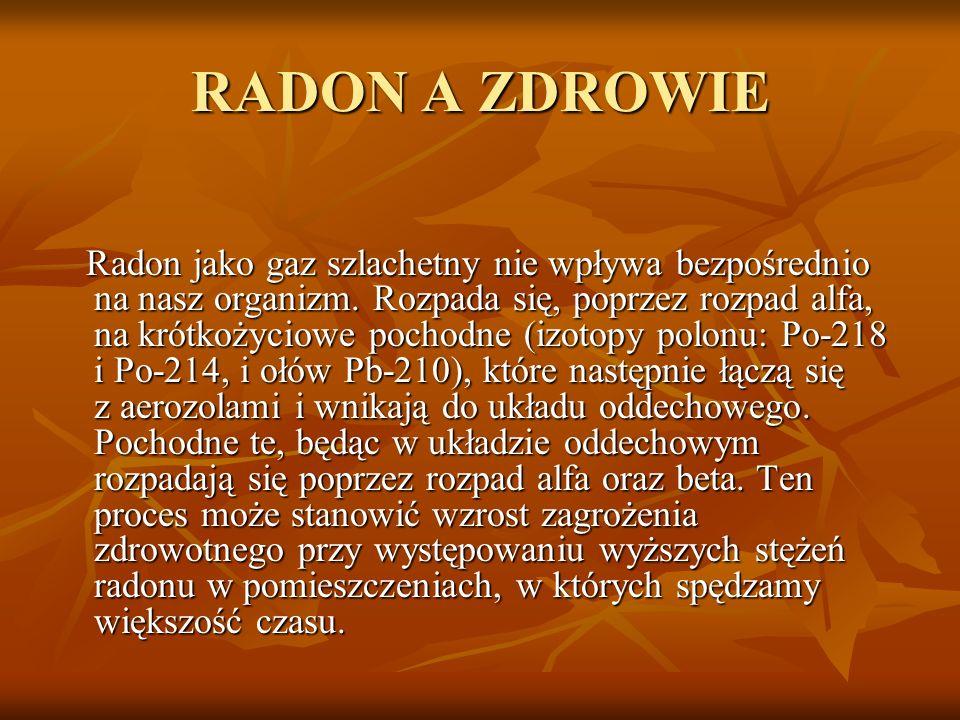 RADON A ZDROWIE Radon jako gaz szlachetny nie wpływa bezpośrednio na nasz organizm. Rozpada się, poprzez rozpad alfa, na krótkożyciowe pochodne (izoto