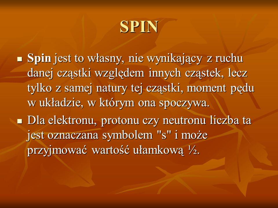 SPIN Spin jest to własny, nie wynikający z ruchu danej cząstki względem innych cząstek, lecz tylko z samej natury tej cząstki, moment pędu w układzie,