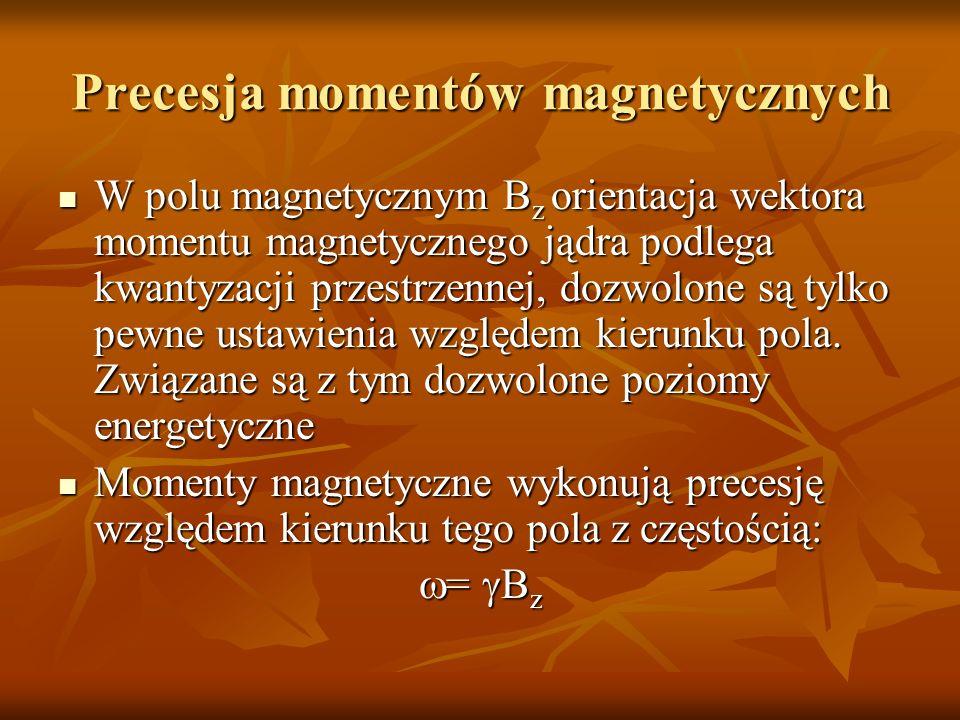 Precesja momentów magnetycznych W polu magnetycznym B z orientacja wektora momentu magnetycznego jądra podlega kwantyzacji przestrzennej, dozwolone są