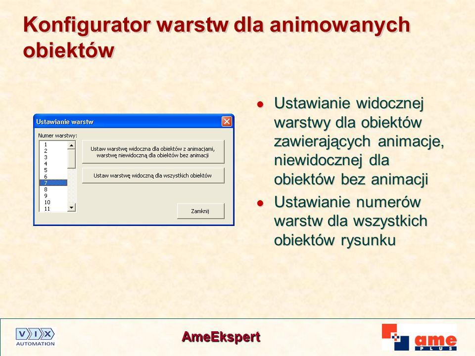 AmeEkspert Konfigurator warstw dla animowanych obiektów Ustawianie widocznej warstwy dla obiektów zawierających animacje, niewidocznej dla obiektów be