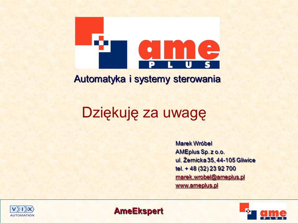 AmeEkspert Dziękuję za uwagę Marek Wróbel AMEplus Sp. z o.o. ul. Żernicka 35, 44-105 Gliwice tel. + 48 (32) 23 92 700 marek.wrobel@ameplus.pl www.amep
