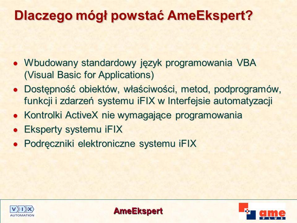 AmeEkspert Dlaczego mógł powstać AmeEkspert? Wbudowany standardowy język programowania VBA (Visual Basic for Applications) Dostępność obiektów, właści