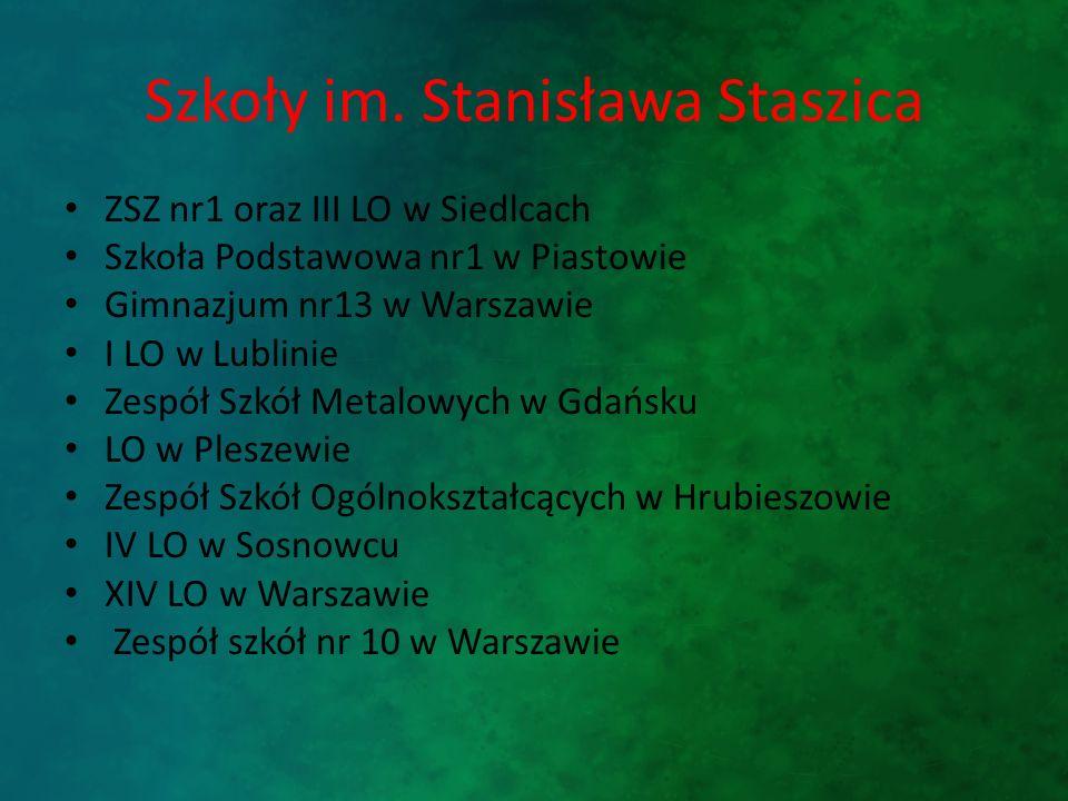 Szkoły im. Stanisława Staszica ZSZ nr1 oraz III LO w Siedlcach Szkoła Podstawowa nr1 w Piastowie Gimnazjum nr13 w Warszawie I LO w Lublinie Zespół Szk