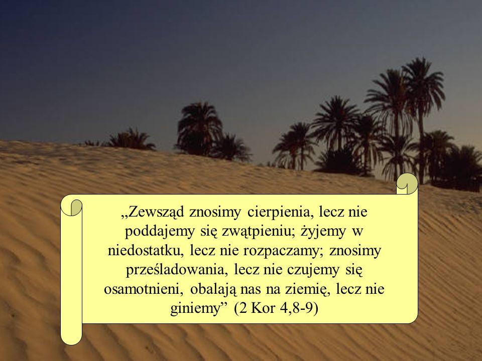 Zewsząd znosimy cierpienia, lecz nie poddajemy się zwątpieniu; żyjemy w niedostatku, lecz nie rozpaczamy; znosimy prześladowania, lecz nie czujemy się osamotnieni, obalają nas na ziemię, lecz nie giniemy (2 Kor 4,8-9)