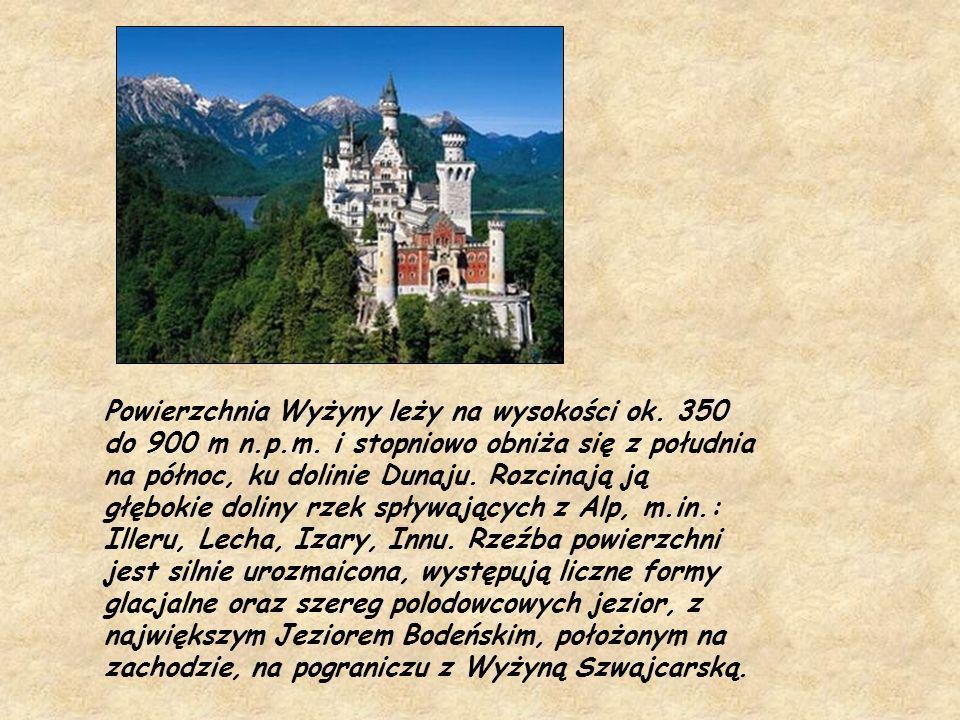Powierzchnia Wyżyny leży na wysokości ok. 350 do 900 m n.p.m. i stopniowo obniża się z południa na północ, ku dolinie Dunaju. Rozcinają ją głębokie do
