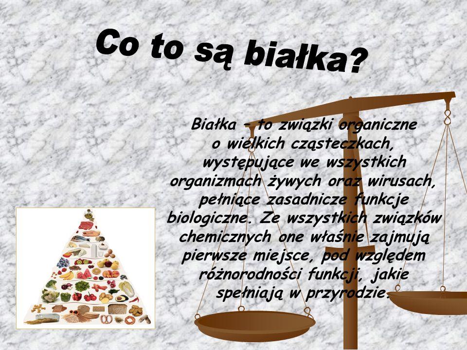 Białka – to związki organiczne o wielkich cząsteczkach, występujące we wszystkich organizmach żywych oraz wirusach, pełniące zasadnicze funkcje biolog