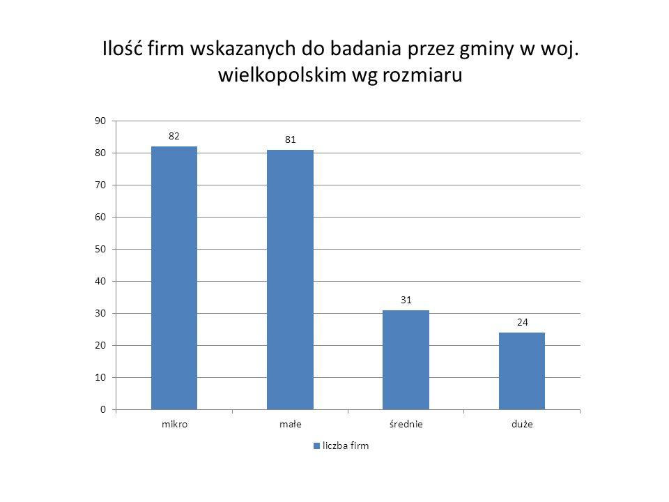 Ilość firm wskazanych do badania przez gminy w woj. wielkopolskim wg rozmiaru