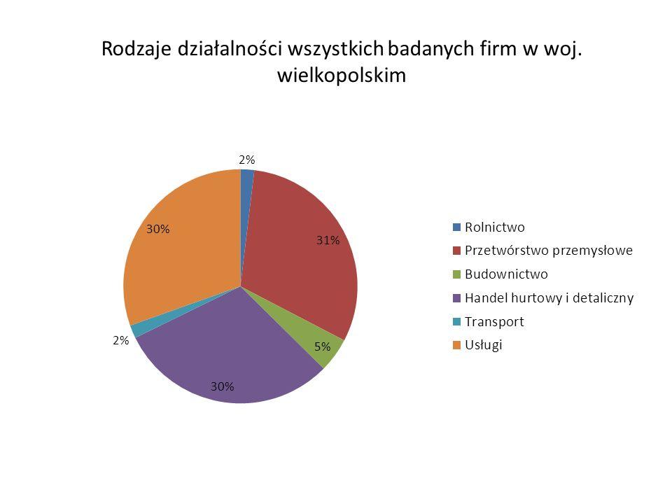 Rodzaje działalności wszystkich badanych firm w woj. wielkopolskim