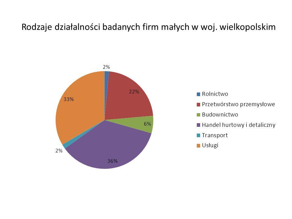 Rodzaje działalności badanych firm małych w woj. wielkopolskim