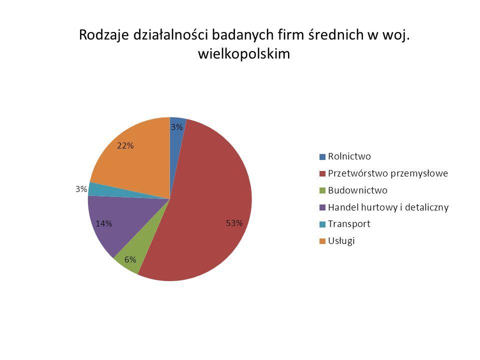 Rodzaje działalności badanych firm średnich w woj. wielkopolskim