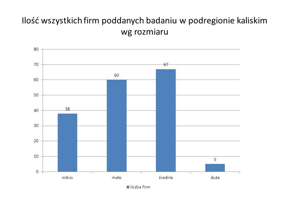 Ilość wszystkich firm poddanych badaniu w podregionie kaliskim wg rozmiaru