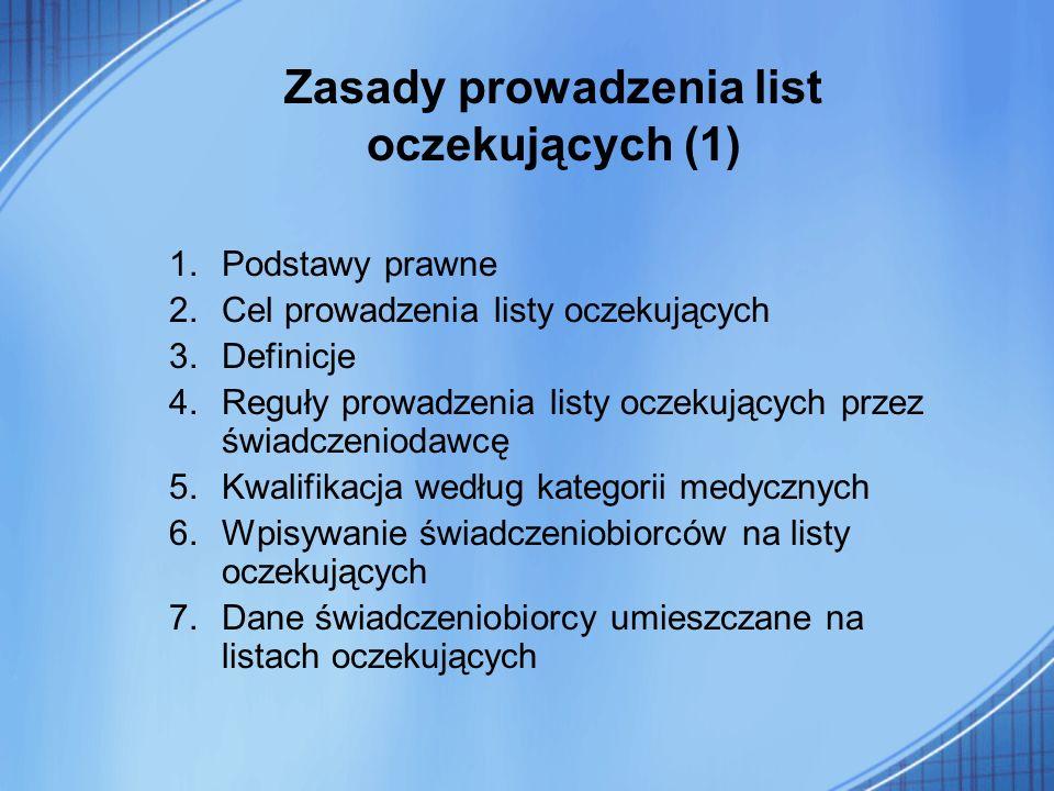 Zasady prowadzenia list oczekujących (1) 1.Podstawy prawne 2.Cel prowadzenia listy oczekujących 3.Definicje 4.Reguły prowadzenia listy oczekujących pr