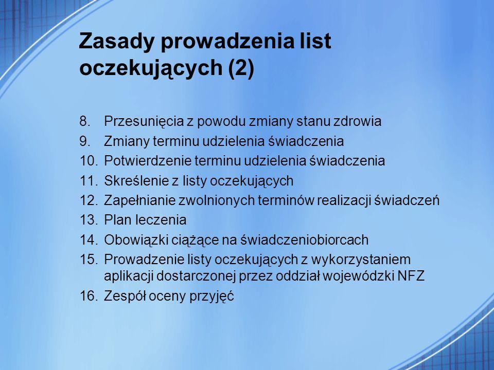 Zasady prowadzenia list oczekujących (2) 8.Przesunięcia z powodu zmiany stanu zdrowia 9.Zmiany terminu udzielenia świadczenia 10.Potwierdzenie terminu