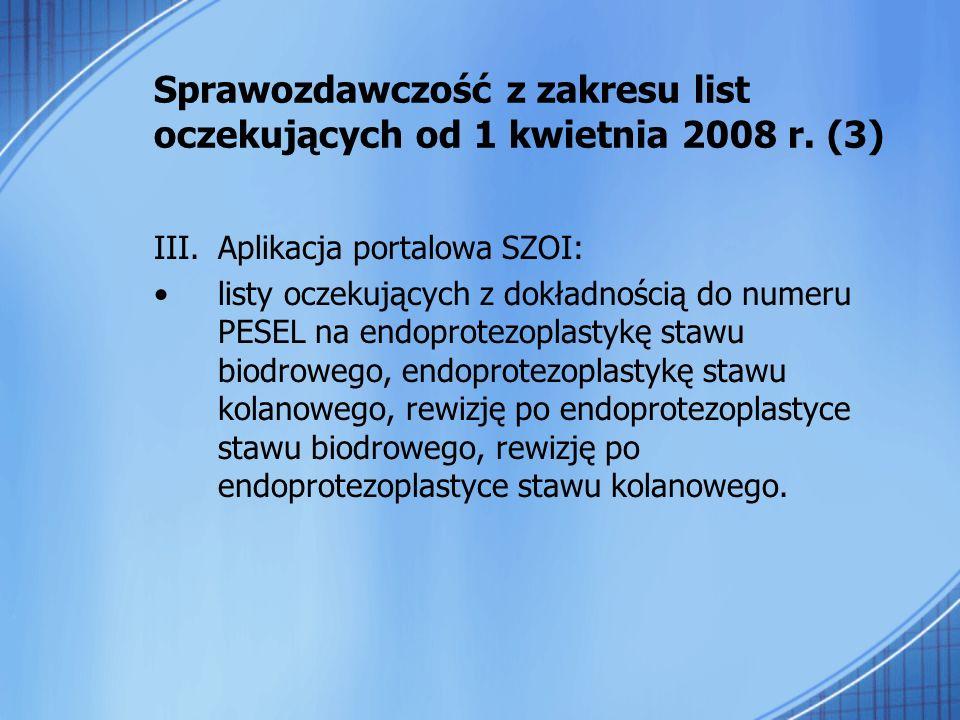 Sprawozdawczość z zakresu list oczekujących od 1 kwietnia 2008 r. (3) III.Aplikacja portalowa SZOI: listy oczekujących z dokładnością do numeru PESEL
