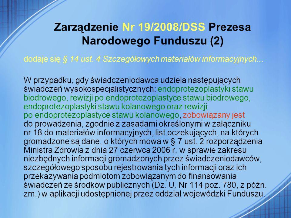Zarządzenie Nr 19/2008/DSS Prezesa Narodowego Funduszu (2) dodaje się § 14 ust. 4 Szczegółowych materiałów informacyjnych... W przypadku, gdy świadcze