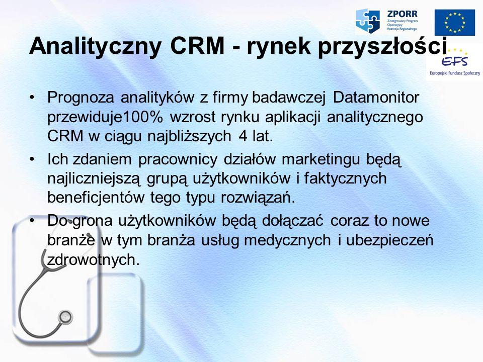 Analityczny CRM - rynek przyszłości Prognoza analityk ó w z firmy badawczej Datamonitor przewiduje100% wzrost rynku aplikacji analitycznego CRM w ciąg
