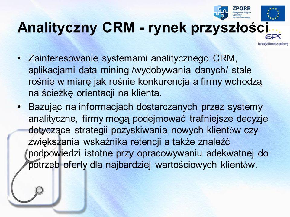 Analityczny CRM - rynek przyszłości Zainteresowanie systemami analitycznego CRM, aplikacjami data mining /wydobywania danych/ stale rośnie w miarę jak