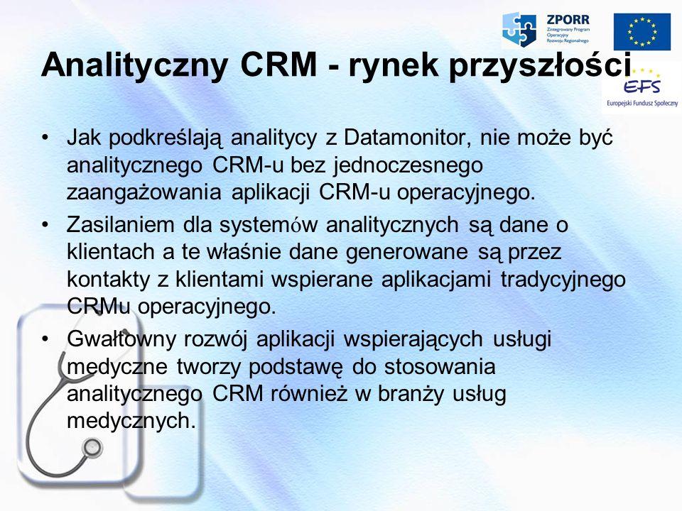Analityczny CRM - rynek przyszłości Jak podkreślają analitycy z Datamonitor, nie może być analitycznego CRM-u bez jednoczesnego zaangażowania aplikacj