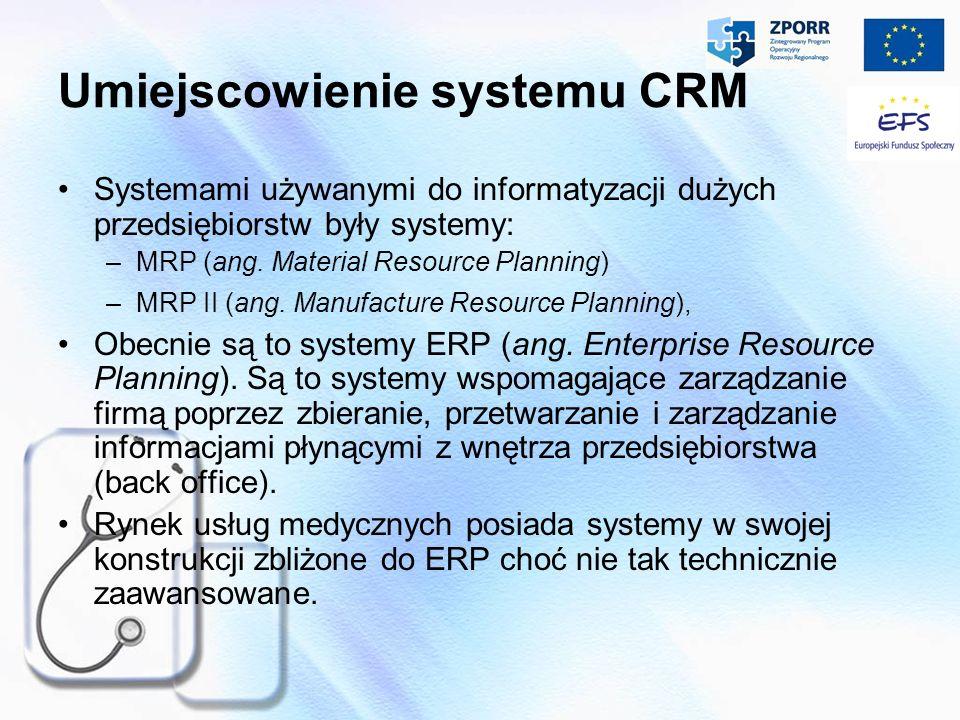Umiejscowienie systemu CRM Systemami używanymi do informatyzacji dużych przedsiębiorstw były systemy: –MRP (ang. Material Resource Planning) –MRP II (