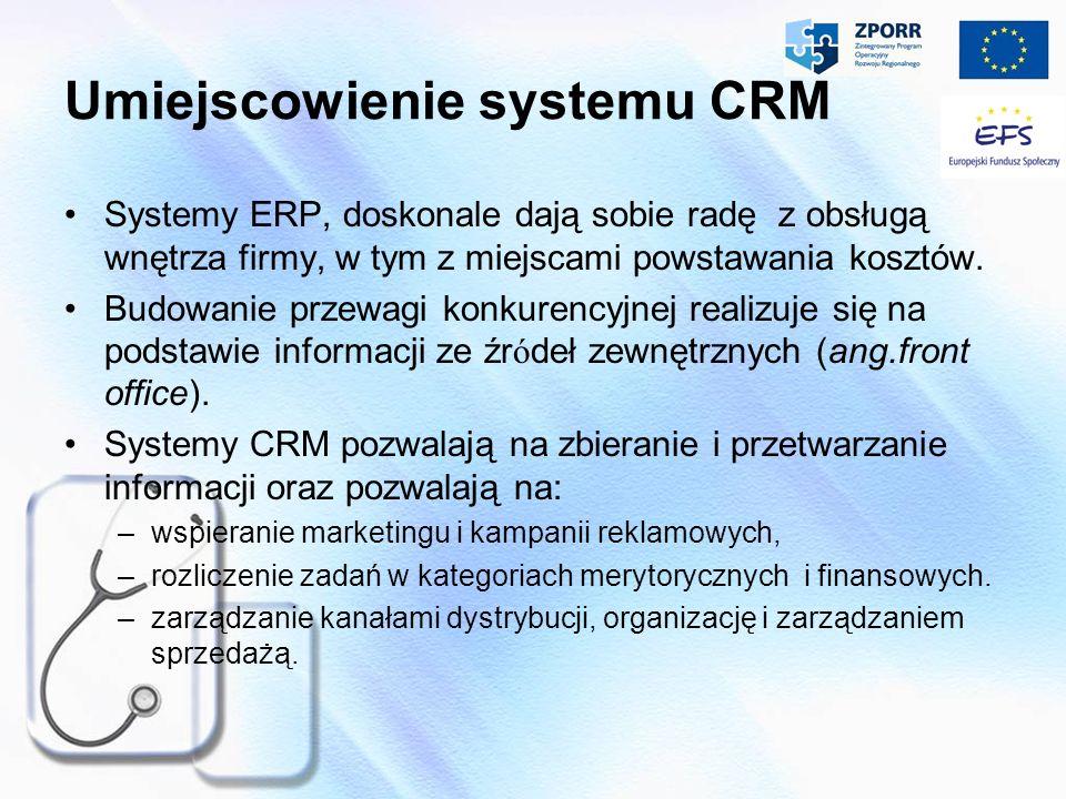 Umiejscowienie systemu CRM Systemy ERP, doskonale dają sobie radę z obsługą wnętrza firmy, w tym z miejscami powstawania kosztów. Budowanie przewagi k